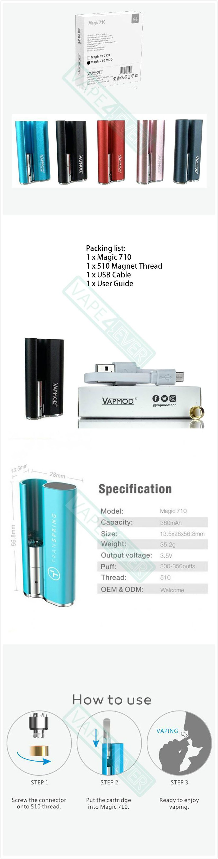 Vapmod Magic 710 Vaporizer Box Mod 380mAh Battery Compatible With 510 Atomizers Instruction