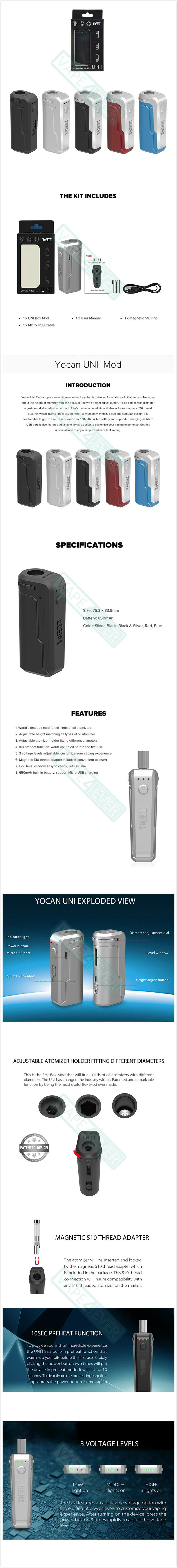 Yocan UNI Vaporizer Box Mod 650mAh For 510 Thread CBD Oil Cartridge/Atomizer Instruction