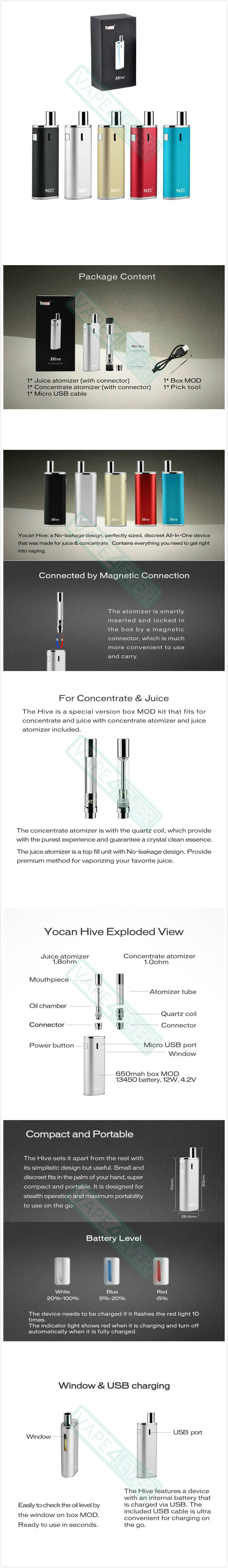Yocan Hive AIO Starter Kit Magnetic Connection For E-juice/Concentrate Vaporizer Instruction