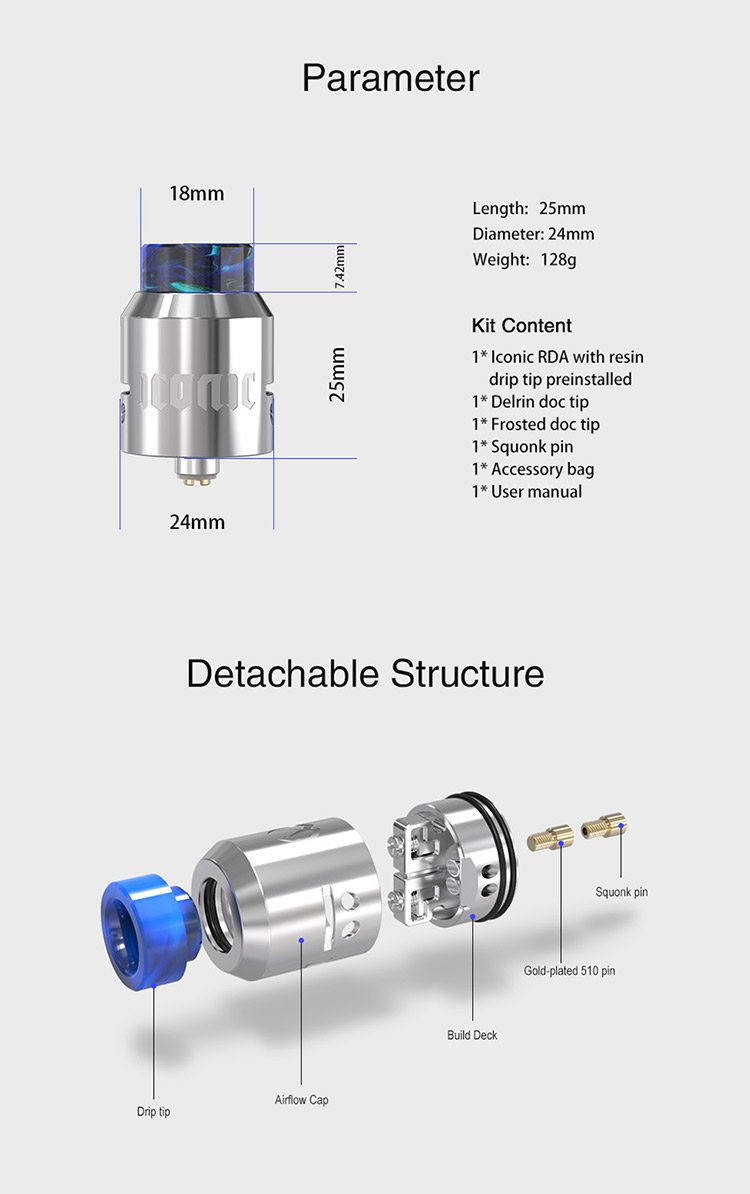 Vandy Vape Iconic RDA Tank(2ml/24mm) 1